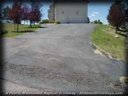 an asphalt driveway that was not preserved precisely