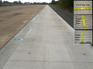 photo: constantly reinforced tangible pavement (CRCP) test track with different tined areas