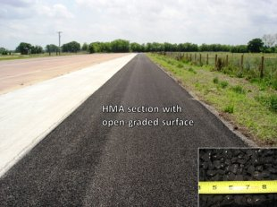 photo: open-graded hot-mix asphalt (HMA) section adjacent to CRCP test track